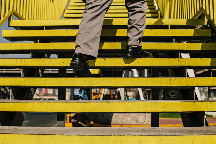 Close-up of yellow steps