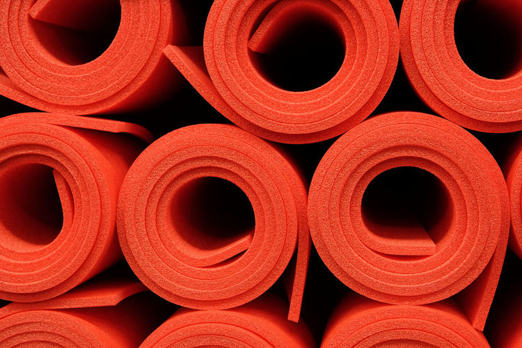 Meditation Red Wellness Yoga Yoga Mat Backgrounds Book Cover Bookcover Close-up Colorful Full Frame Gym Healthy Activity No People Pilates Pilates Mat Red Roll Rolled Up Yoga Mats