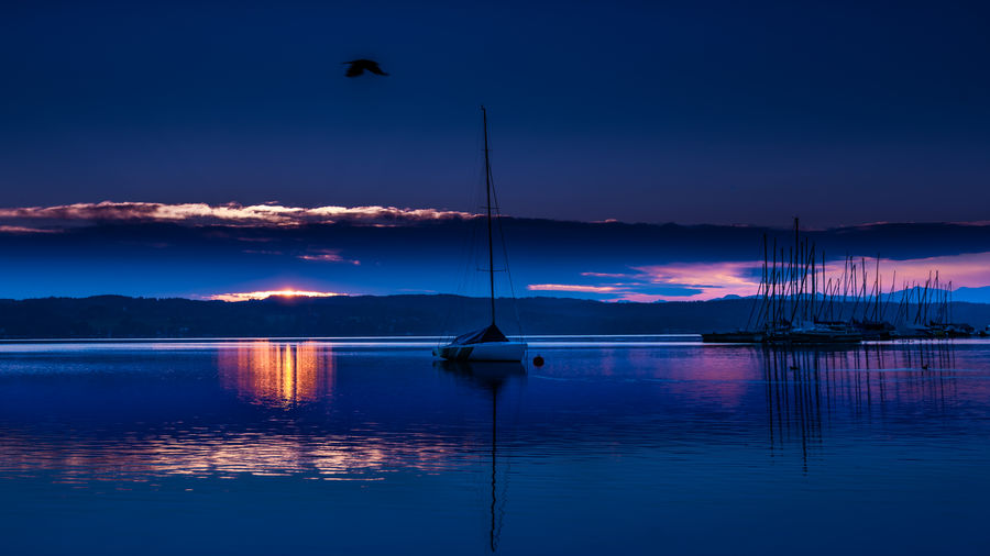 Water Reflection Sky Scenics - Nature Beauty In Nature Waterfront Cloud - Sky Transportation Lake Tranquility Nature Tranquil Scene Sunset No People Blue Dusk Outdoors Starnberg Bernried Sunrise Colors Yacht First Eyem Photo