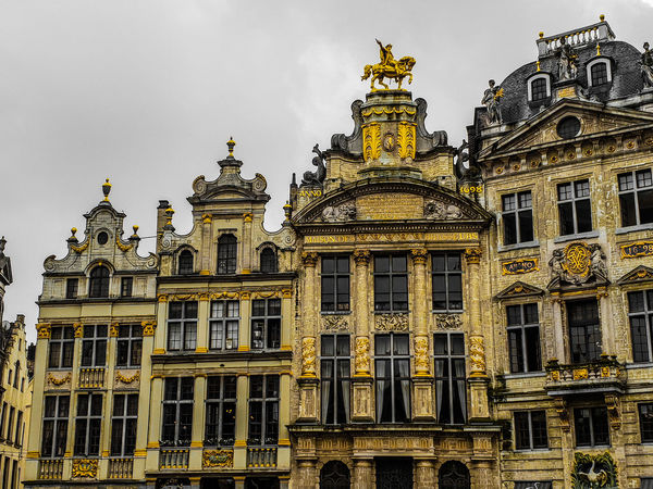 Beautiful buildings on the Grand Place in Brussels History Grote Markt Brussels Bruxelles Belgium Brussel Grand Place Centered Perspective Travel Destinations Travel Tourism Copy Space City Marketing Marketing Style Art Sightseeing Spot Politics And Government City Gold Façade Window Ornate Sky Architecture Building Exterior Built Structure Statue Historic Sculpture