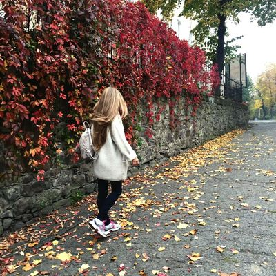 Autumn Leaf One Person Change Only Women One Woman Only Full Length Tree Rear View Long Hair Adult Adults Only Outdoors People Real People Day Women Nature Standing One Young Woman Only