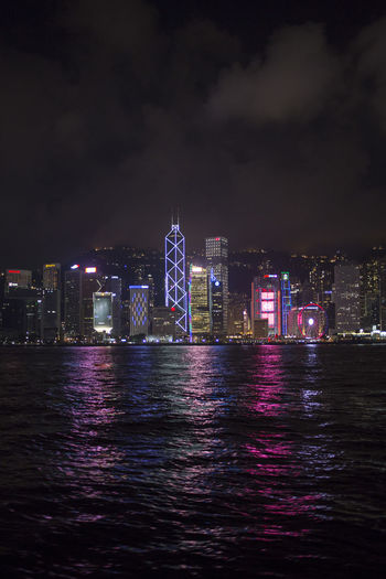 Hong Kong HongKong Architecture Building Building Exterior Built Structure City Cityscape Financial District  Illuminated Landscape Luminosity Modern Nature Night No People Office Building Exterior Outdoors River Sky Skyscraper Tall - High Urban Skyline Water Waterfront