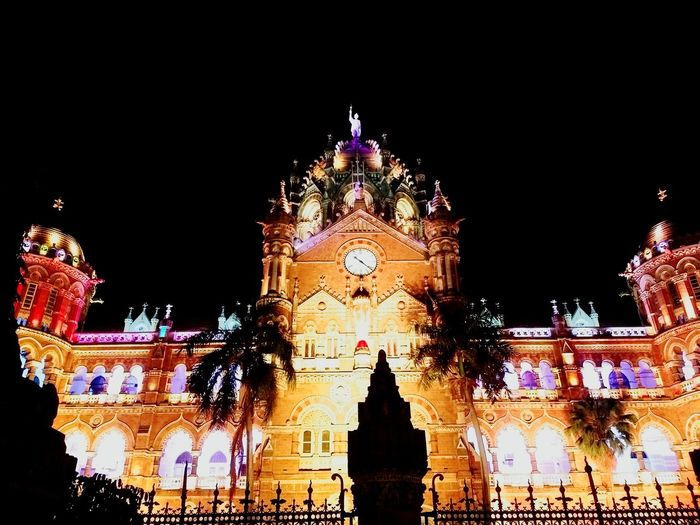 Night Illuminated Government Outdoors Multi Colored Architecture Building Exterior Sky MumbaiDiaries Lifediary Love♥ Travel Photography Life Nirvana♡ Travel Destinations World History Architecturephotography Photography Mumbai Architecture High Angle View Railway Station Railways_of_our_world Victoria Terminus british colony