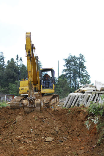 Agriculture Builder Clear Sky Construction Construction Machinery Construction Site Day Digger Digging Dirt Earth Mover Farm Outdoors Rural Scene Sapa Sapa, Vietnam Vietnam