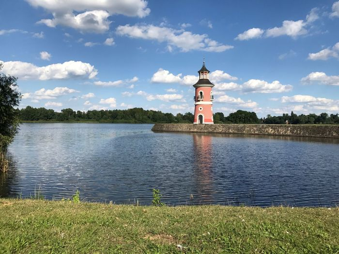 Lighthouse Lake Lake View Cloud - Sky Architecture Water Sky Grass Beauty In Nature No People Building Exterior Outdoors Historical Building Saxony