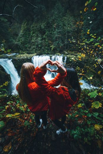 Enjoy The New Normal Two People Women Young Adult Togetherness Lifestyles Autumn Young Women Outdoors Adults Only Men Mountain Nature Water Adult People Day