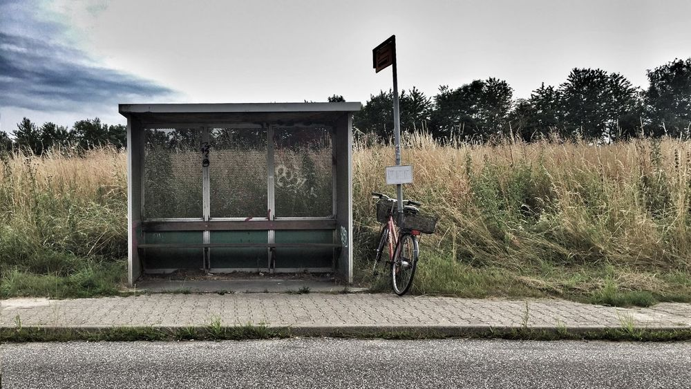Denmark Countryside Bus Stop Bicycle