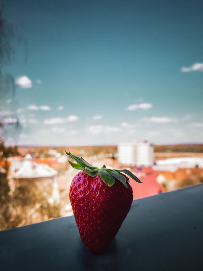Close-up of strawberry on table