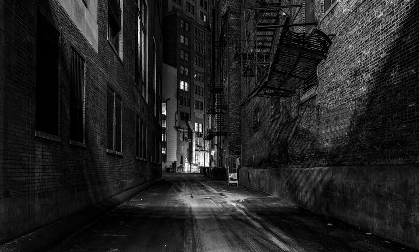Chicago abandoned alley at night Architecture Building Exterior City Built Structure Street Building Direction The Way Forward No People Outdoors Diminishing Perspective Alley Chicago Chicago Architecture Illinois USA America Urban Brick Wall Wall Illuminated Night Narrow Empty Brick Bnw Gritty Spooky Light & Shadow Abondoned