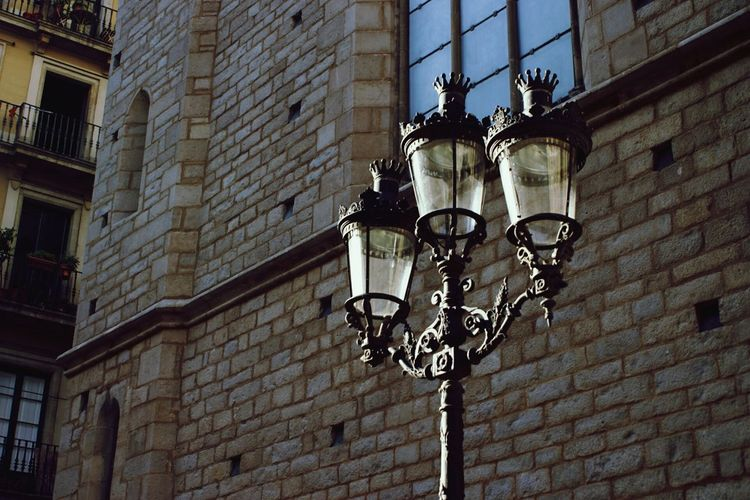 Super Retro Vintage Street Lamps Crown Window Old Stuff Historical Sights Street Corner Barcelona SPAIN
