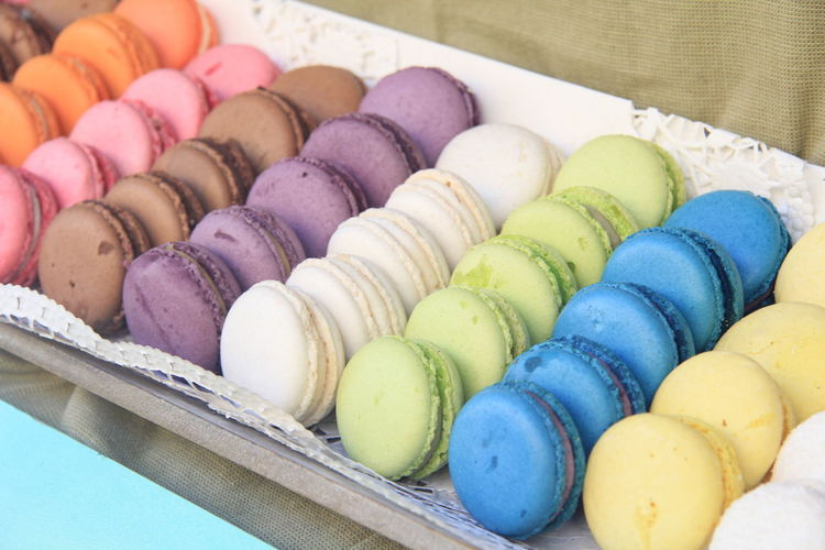 Multi Colored Food Food And Drink Sweet Food Sweet Macaroon Indulgence Freshness Dessert Temptation Ready-to-eat Large Group Of Objects Still Life Variation No People Unhealthy Eating Choice Indoors  In A Row Close-up Tray French Food Order Colorful Treats