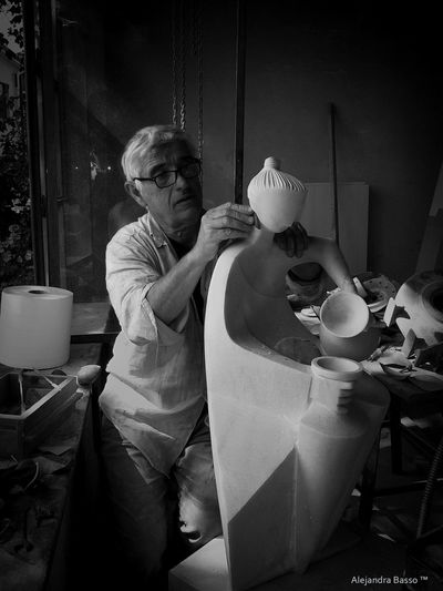 The sculptor - Gianfranco Giorni Anghiari, Toscana Gianfranco Giorni Blackandwhite Bowl Creation Day Food Human Hand Indoors  Occupation One Person People Real People Sculptor Sculpture Senior Adult Table Working