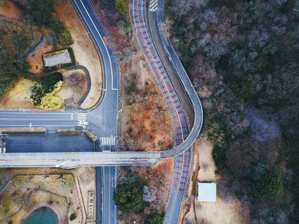 High Angle View Transportation Road Tree Outdoors Aerial View City Day No People Architecture VSCO Vscocam Landscape Power In Nature Dronephotography Drone  Beauty In Nature Road Nature Connection Tree Transportation Aerial Photography Aerospace Industry Aerial Shot Flying High
