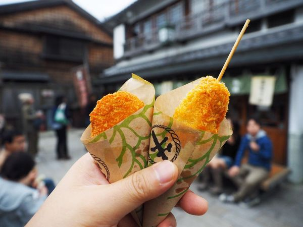 Enjoying A Meal Croquette Skewers Japanese Food 串カツ