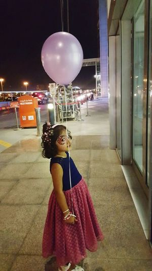 Night Child People Balloon One Person Arts Culture And Entertainment Full Length Portrait Standing Girls Adult Young Adult Childhood Indoors  Young Women Illuminated Only Women Space