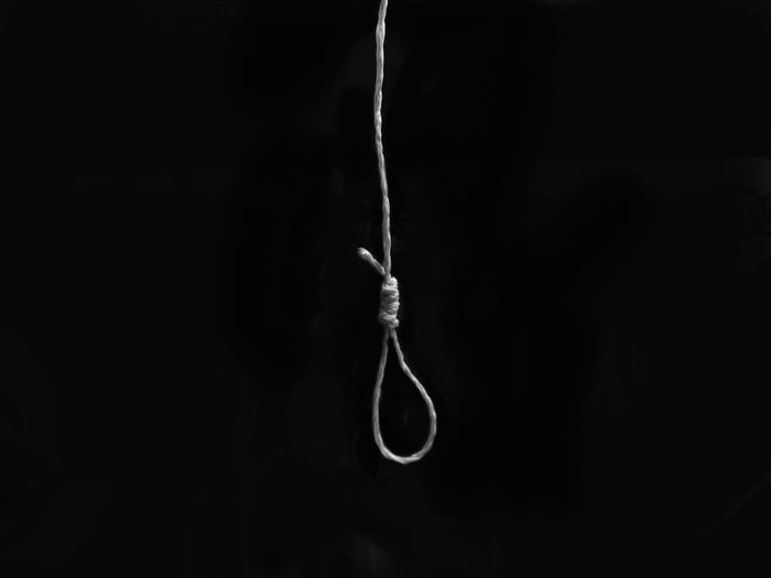 Close-up of silhouette hanging against black background