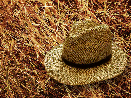 Brown Close-up Clothing Day Field Grass Hat High Angle View Land Nature No People Outdoors Personal Accessory Plant Protection Stack Still Life Straw Hat Sun Hat Sunlight