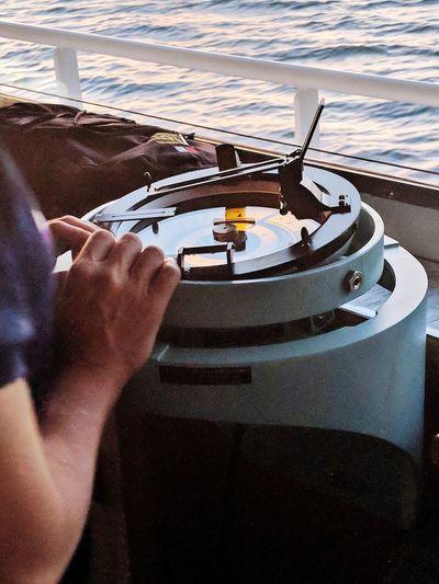 Nautical Theme Nautical Vessel Cargo Ship Life Onboard Sea Water Tanker Ship Nautical Equipament Gyro Compass Human Hand Men Holding Close-up Ocean Calm Wake - Water Water Vehicle
