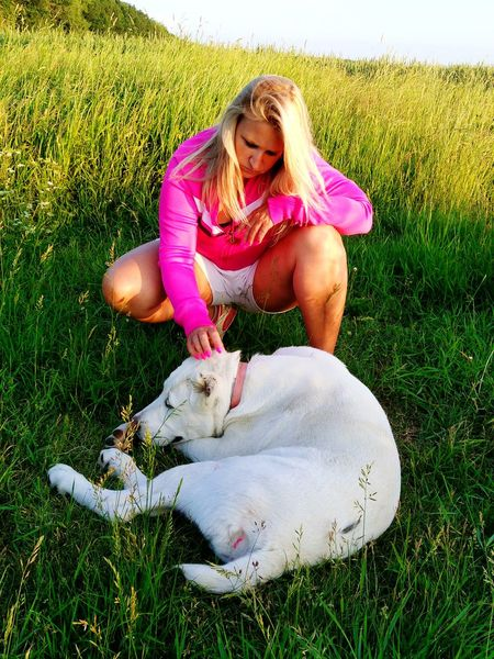 Girl with white dog Central Asian Shepherd Alabai Sao Beauty Blond Hair Portrait Young Women Grass Pets Dog Domestic Animals Canine