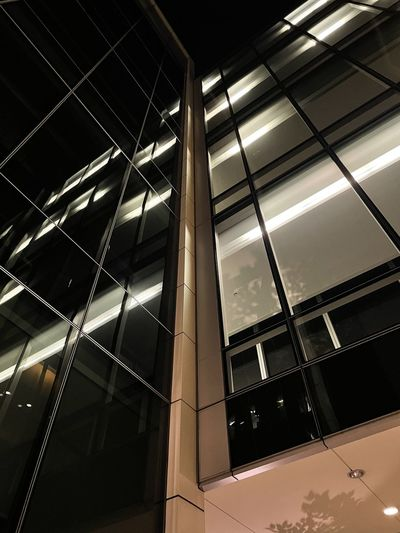 Low angle view of modern glass building at night