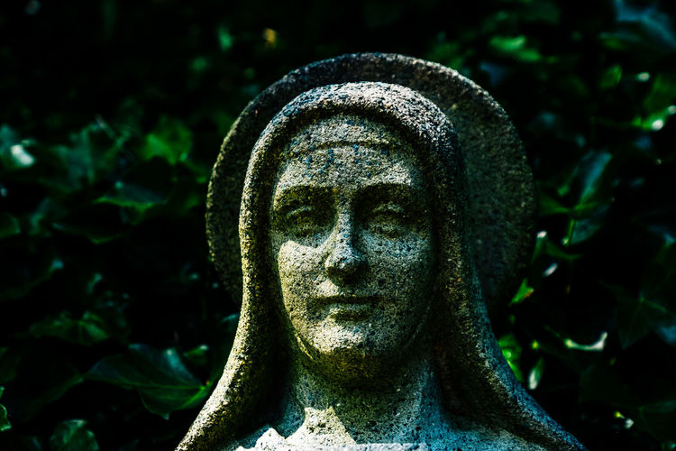 Close-up of mother mary statue