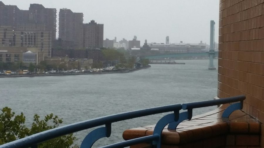 East River Manhattan NYC FDR Drive Stormy Weather Traffic Jam