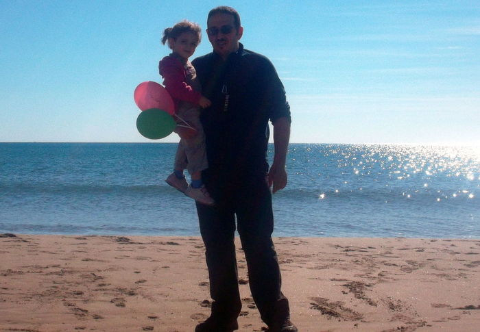Silouhette in the beach.. Life Is A Beach Father And Daughter That's Me