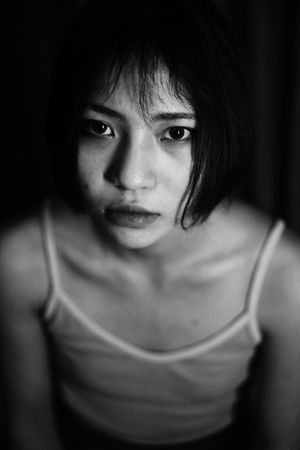 The Portraitist - 2018 EyeEm Awards Looking At Camera Portrait One Person Front View Real People Young Women Young Adult Lifestyles Focus On Foreground Indoors  Women Waist Up Casual Clothing Headshot Adult Close-up Leisure Activity Hairstyle Beautiful Woman Girl Black And White Black & White Human Body Part Looking At Camera
