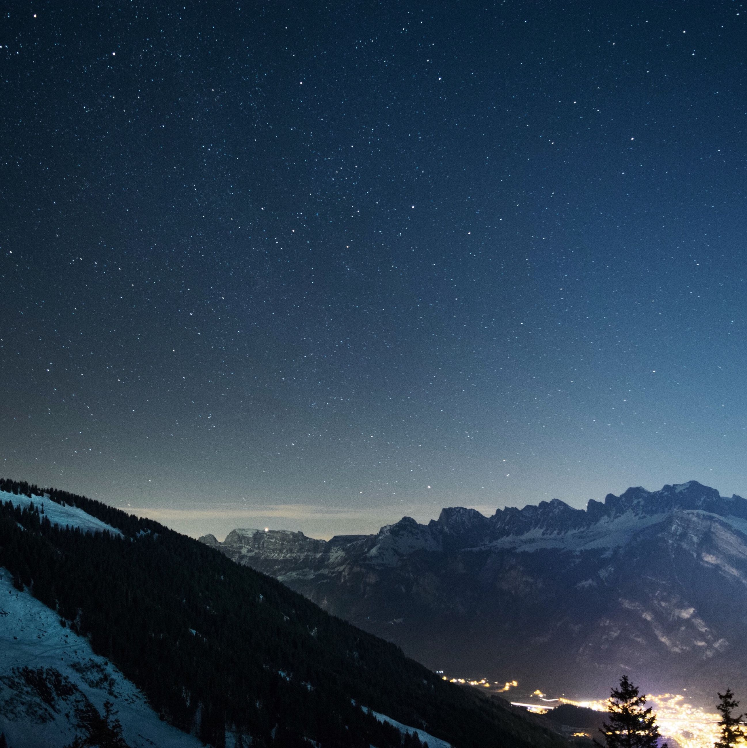 night, star - space, scenics, tranquil scene, star field, beauty in nature, tranquility, astronomy, mountain, snow, nature, galaxy, star, winter, landscape, sky, idyllic, space, cold temperature, mountain range