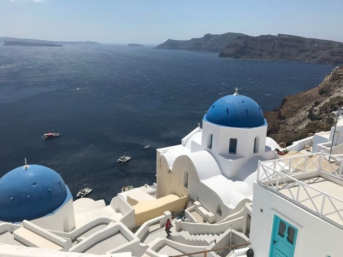 Santorini, April 2018. Santorini Building Exterior Architecture Built Structure Building Dome Religion Water Sea Travel Destinations High Angle View Whitewashed Tourism No People Outdoors Sunlight The Great Outdoors - 2019 EyeEm Awards