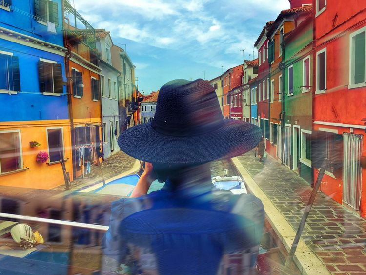 Hat in Burano Burano Italy Close To Venice . Perfect Place For Pastel Colors And Blue Sky . Dolce Vita Colourful Colourful Houses Old Houses Burano, Italy Burano, Venice Chapeau Colors Hat Architecture Building Exterior City Cloud - Sky Colorful Day Hut Lifestyles One Person Outdoors Real People Rear View Sky Women The Week On EyeEm