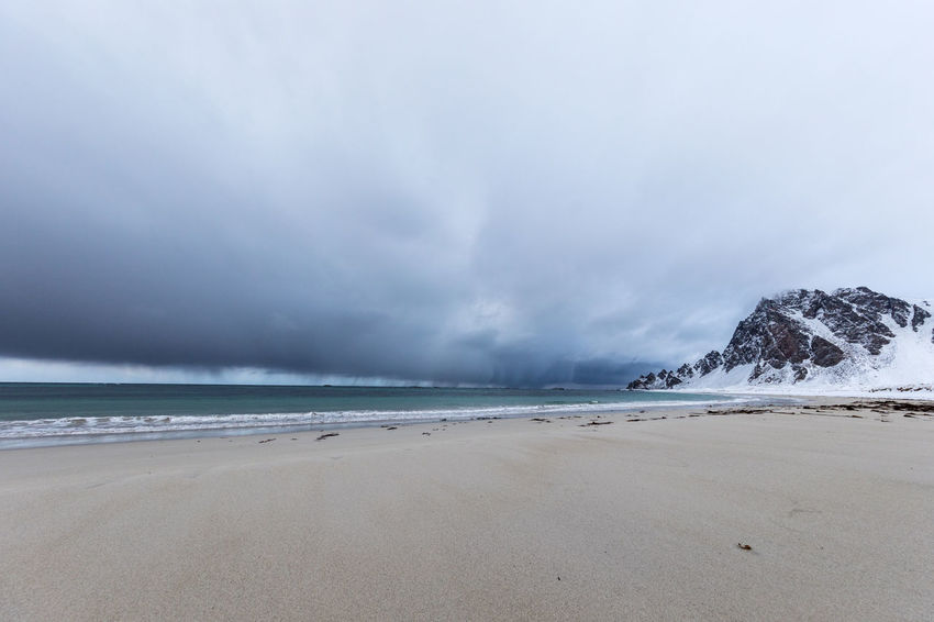 Beach Beauty In Nature Cloud - Sky Cold Temperature The Great Outdoors - 2017 EyeEm Awards Dramatic Sky Horizon Over Water Landscape Loneliness Mountain Nature Nature No People Norway Outdoors Sand Scenics Sea Sky Storm Storm Cloud Thunderstorm Vesterålen Water Winter