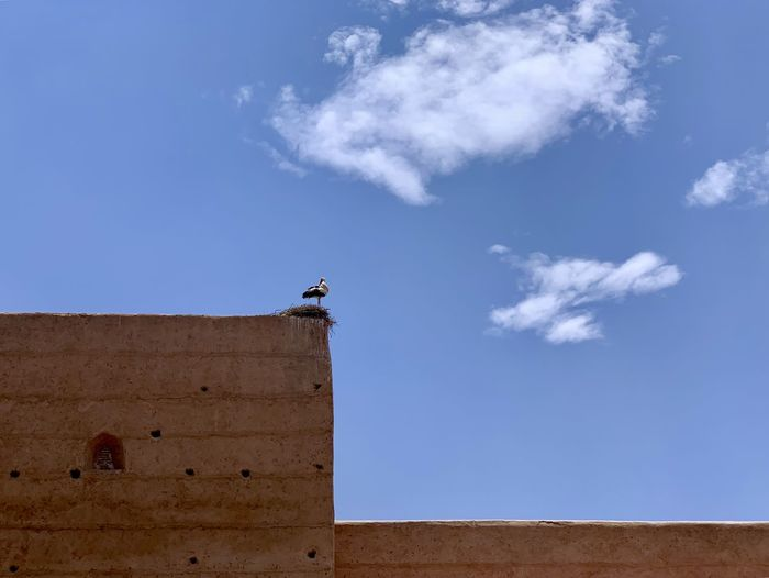 Low angle view of a building against blue sky
