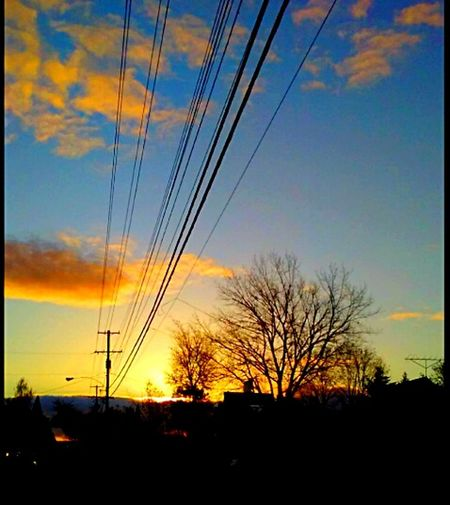 Sunset Cloud - Sky Outdoors Power Supply Power Line  Bare Tree Silhouette Electricity Pylon Building Exterior Architecture EyeEmNewHere Streemzoofamily EyeEm Gallery Illumination Illuminated Still Life Photography Orange Color Tadaa Community Evening Photography Getty Images Original Experiences Eyeem Market Oregon Sunset Scenics Peach Sunset