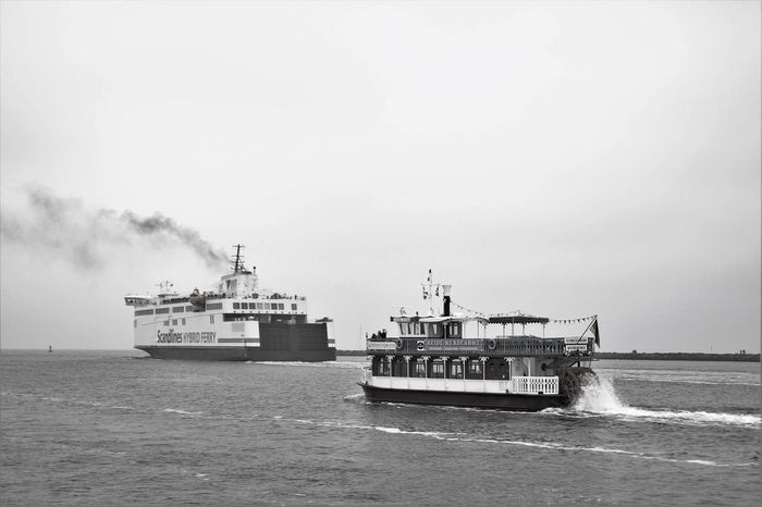 Baltic Sea David And Goliath Day Ferry Mode Of Transport Nautical Vessel Outdoors Paddle Steamer Sea Sky Smoke Pipe Torism Transportation Water Monochrome Photography Black And White Blackandwhite Public Transport