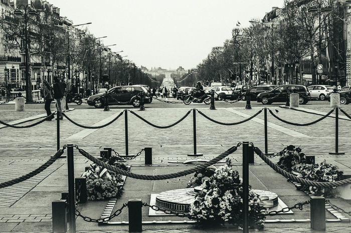 Looking past the tomb of the unknown soldier towards The Louvre in the distance. Attraction Barrier Black And White Built Structure Champs-Élysées  Day Famous Place France No People Paris Tomb Of The Unknown Soldier Tourism