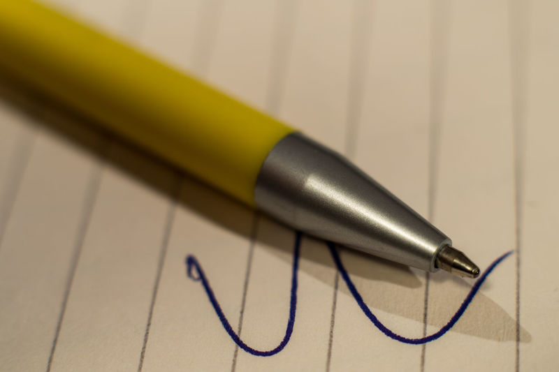 Ballpoint Pen Close-up Education Focus On Foreground High Angle View Indoors  No People Office Oldschool Paper Paper And Pencil Pen Pencil Selective Focus Shadow Silver Colored Single Object Text Writing Instrument