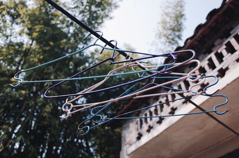 Low angle view of clothespins hanging on rope against trees