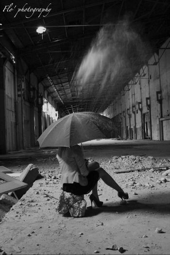 Blackandwhite Girl Photography Blonde Factory Umbrella Photo Shooting