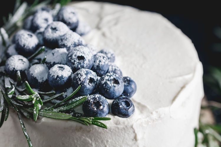Close-up of blueberries on cake