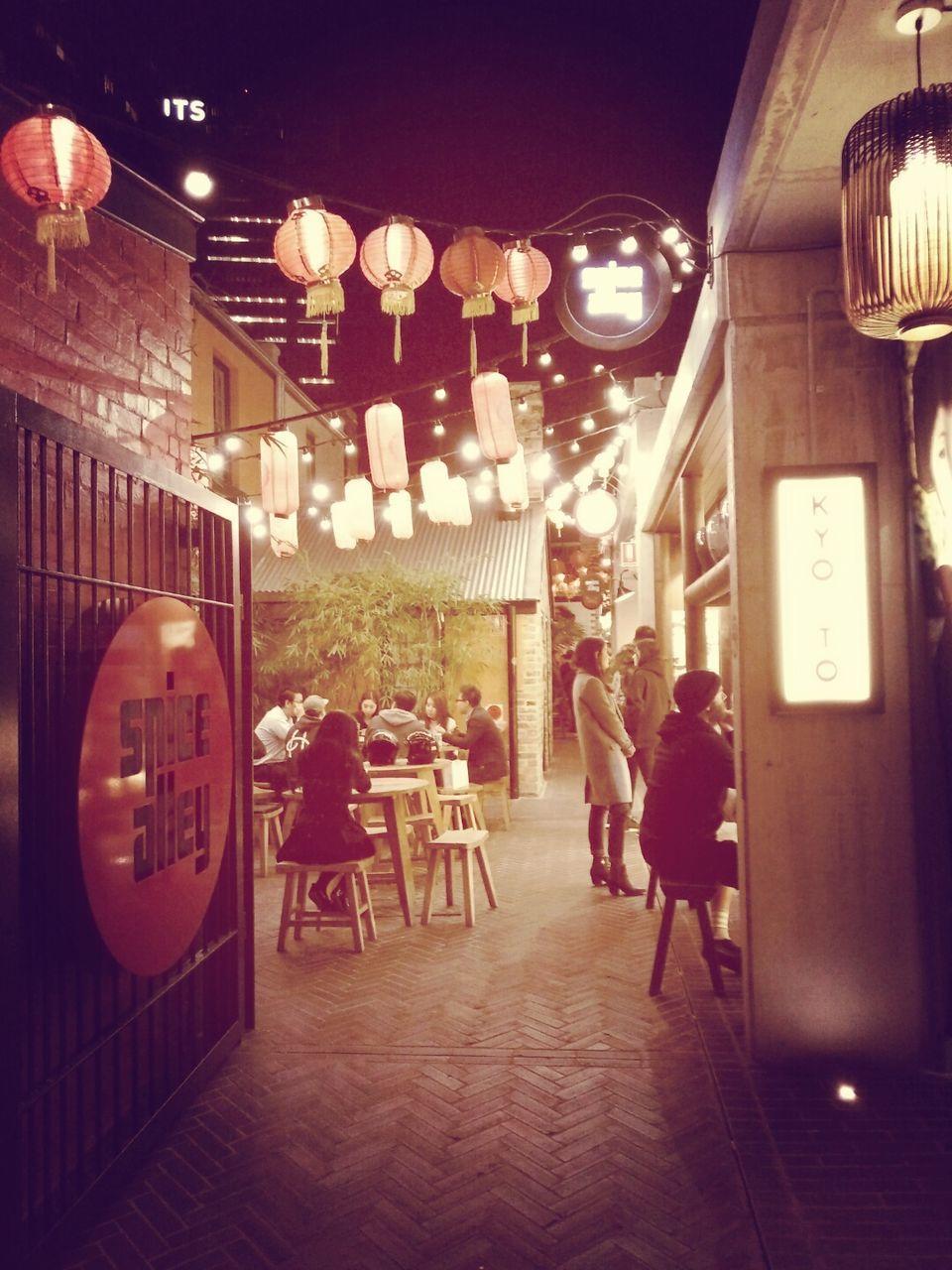 restaurant, illuminated, night, cafe, city, architecture, friendship, men, people, outdoors, adult