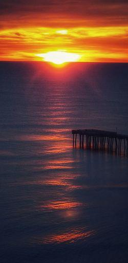 Water Sea Sunset Sunlight Sun Orange Color Wave Silhouette Sky Horizon Over Water