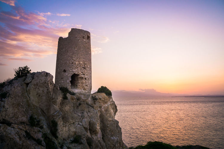Torre del prezzemolo, an old coastal tower in cagliari, sardinia