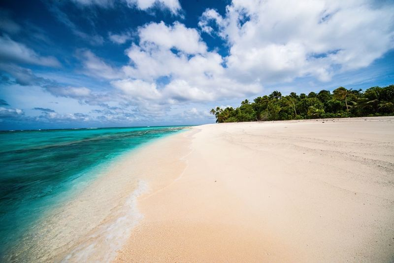 Fiji Islands Sea Beach Sand Sky Cloud - Sky Scenics Travel Destinations Idyllic Outdoors Tropical Climate Nature Beauty In Nature Tranquil Scene Horizon Over Water Coastline Tranquility Beauty Water Vacations No People Fiji Islands Fiji Fidschi Travel Photography Landscape