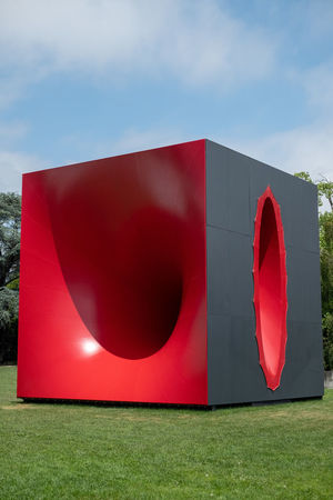 Sectional Body Preparing For Monadic Singularity Red Sky Nature Cloud - Sky Grass No People Day Sunlight Architecture Built Structure Outdoors Flag Shape Design Land Geometric Shape Anish Kapoor Sculpture Contemporary Contemporary Art