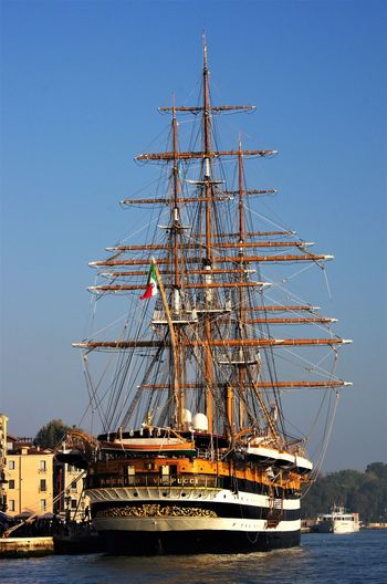 Amerigo Vespucci ship...... Colors Lost In The Landscape Marina Militare Italiana Old Ship Trees Wood Clear Sky Day Nautical Vessel No People Sailboat Sailing Sea Sky Transportation Water