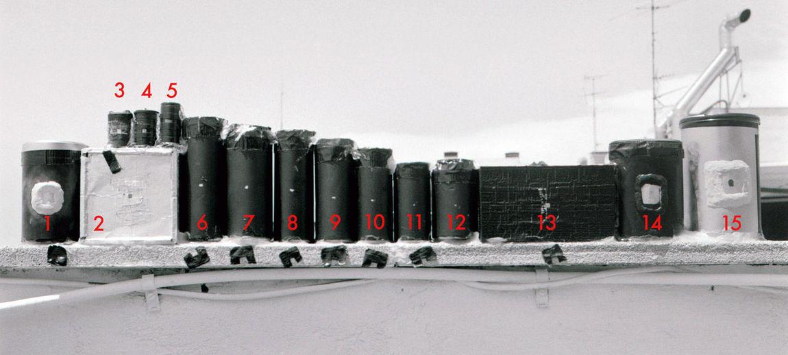 Prueba de cámaras para hacer Solarigrafía. 15 geometrías difrentes, proyección cilíndrica y rectangular. Test completo en http://flickr.com/photos/solarigrafia Solargraphy Solarigrafia Pinhole Photography Estenopeica Pinhole Camera Madrid
