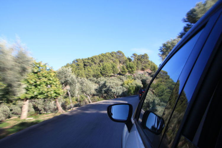Driving on the Soller coastal road Blue Sky Blur Blurred Motion Car Day Fast Mallorca Mirror Nature No People Outdoors Reflection Road Sea Side-view Mirror Soller, Mallorca Tarmac Transportation Travel Tree Window Windshield Wingmirror