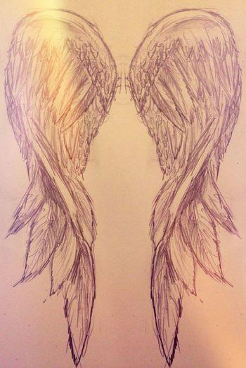 Sketch Wings Mirror Art Art, Drawing, Creativity Angel Wings