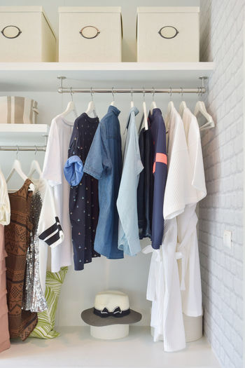 Clothes hanging on rack at home